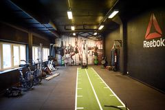 Reebok functional zone room with equipment royalty free stock photo