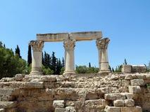 Reece, Corinth, blijft van Corinthische kolommen royalty-vrije stock afbeelding