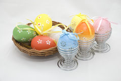Reed Basket and Easter Eggs Royalty Free Stock Photography