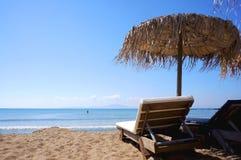 Reed beach umbrella Stock Images