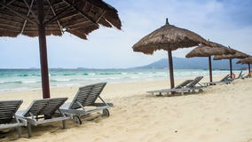 Reed Beach Umbrellas schäslonger på havsstranden arkivfilmer