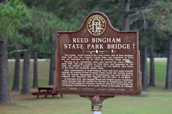 Reed Bingham State Park Historical Marker. Historical Marker at Reed Bingham State Park in Georgia Stock Images