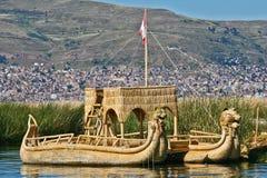 Reed Boat. At Floating Islands near Puno, Peru Stock Photos