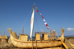 Reed boat. Lake Titicaca - Traditional reed boat - Bolivia Stock Photography