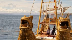 Reed boat in Bolivia. Reed fishing boat in Bolivia stock images