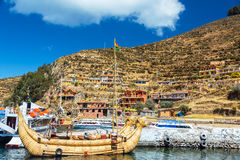 Reed Boat on Isla del Sol Royalty Free Stock Image