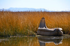 Reed boat on Lake Titicaca Royalty Free Stock Photos