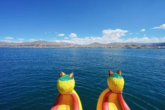 The reed boat on the Lake Titicaca with beautiful blue sky. And the reed island is in front, not far away. royalty free stock photography