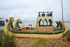 Reed boat in lake Titicaca, Peru. Stock Image