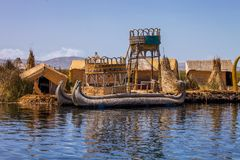 Reed boat in Lake Titicaca, Peru Royalty Free Stock Images