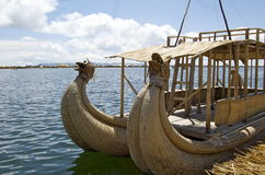 Reed boat in Lake Titicaca - Puno, Peru Royalty Free Stock Image
