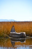 Reed boat on Lake Titicaca in Reed Royalty Free Stock Photo