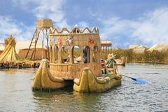 Reed Boat In Puno, Perú Imágenes de archivo libres de regalías