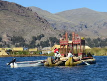 Reed Boat in Puno, Peru. A handmade reed boat being paddled across Lake Titicaca Royalty Free Stock Images