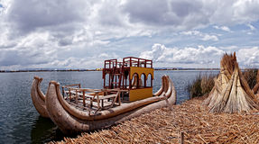 Reed boat Titicaca lake Stock Photos