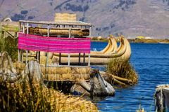 Reed boat to the highest lake in the world Titicaca  Peru Stock Image