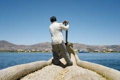 Reed Boatman of Lake Titicaca, Uros Islands Royalty Free Stock Photo
