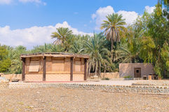 Reed cabin desert camp. Palms Royalty Free Stock Photo