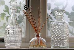 Reed Diffuser and Glass Bottles Stock Photography