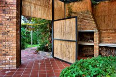 Reed door into garden