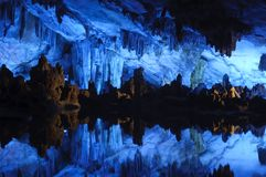 Reed flute cavern, Guilin, China. Beautiful cavern in one of Guilin's most popular attractions stock photography