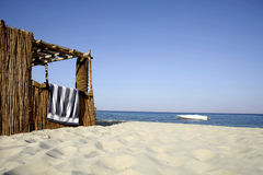 Reed hut on beach, red sea Stock Photo