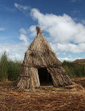 Reed hut on Lake Titicaca, Peru Stock Photo