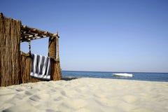 Reed Hut On Beach, Red Sea Stock Photo