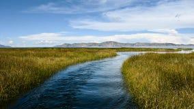 Reed islands on Lake Titicaca, Peru stock image