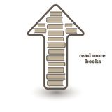 Reed more books, icon with books and arrow up Royalty Free Stock Photos