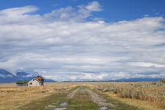 Reed Moulton Homestead. The historic Reed Moulton homestead in the Grand Teton National Park stock photo