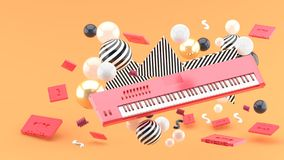 Reed piano keyboard and red tape amidst colorful balls on an orange background. stock illustration