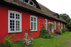 Reed Roof House. Traditional thatched roof house near the Baltic Sea Stock Photo