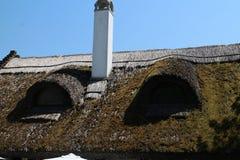 Reed roof on house in Tihany Peninsula, Balaton royalty free stock photo