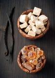Reed sugar and vanilla sticks Royalty Free Stock Image