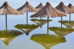 Reed sunshades Royalty Free Stock Images