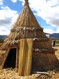Reed Tent. On Floating Island, Lake Titicaca Stock Image