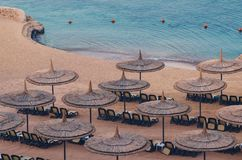 Reed umbrellas with loungers on a beautiful sandy beach.  royalty free stock images