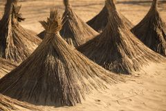 Reed umbrellas in sand of a beach Royalty Free Stock Photos