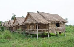 Reed village on stilts in Thailand Stock Photography