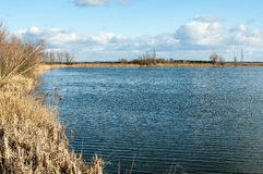 Reedbed and open water with winter skies Stock Photography