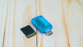 Reeder del USB Gard para Gard multi en piso de madera Foto de archivo libre de regalías