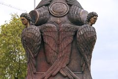 Reedom Bridge, Bronze Seraphim light posts guard over the bridge. Freedom Bridge, Bronze Seraphim light posts guard over the bridge from elevated pillars ove Stock Photo