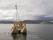 Reeds boat in Titicaca lake. Royalty Free Stock Image