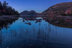 Reeds in Jordan Pond at Night. With subtle fall colors along slopes Royalty Free Stock Photos