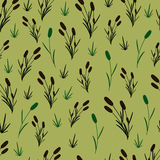 Reeds on an olive background. Seamless pattern Royalty Free Stock Image