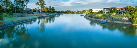 Reedy Creek and walking trail in Varsity Lakes. Aerial panorama of Reedy Creek and walking trail in Varsity Lakes, Gold Coast, Queensland, Australia stock photography
