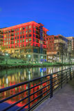Reedy Riverwalk Greenville South Carolina. Walkways around the Reedy River in downtown Greenville, South Carolina provide tourists with colorful night views of Stock Photography