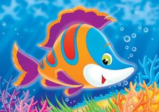Reef 02. Illustration for children. A series  Reef . Animals of a coral reef. Fish Royalty Free Stock Photos