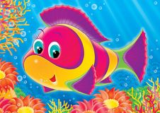 Reef 03. Illustration for children. A series  Reef . Animals of a coral reef. Fish Stock Photos